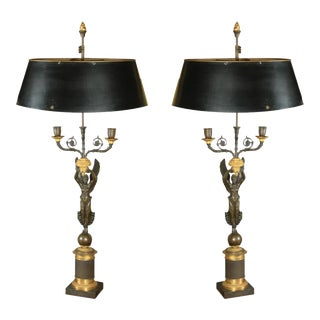 Antique French Empire Style Candelabra Mounted as Lamps For Sale