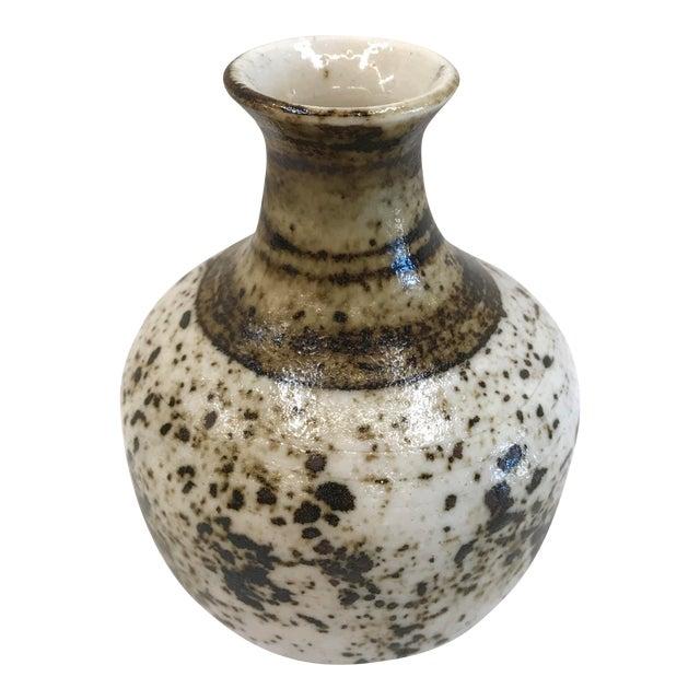 1970's White & Brown Squat Vase - Image 1 of 6