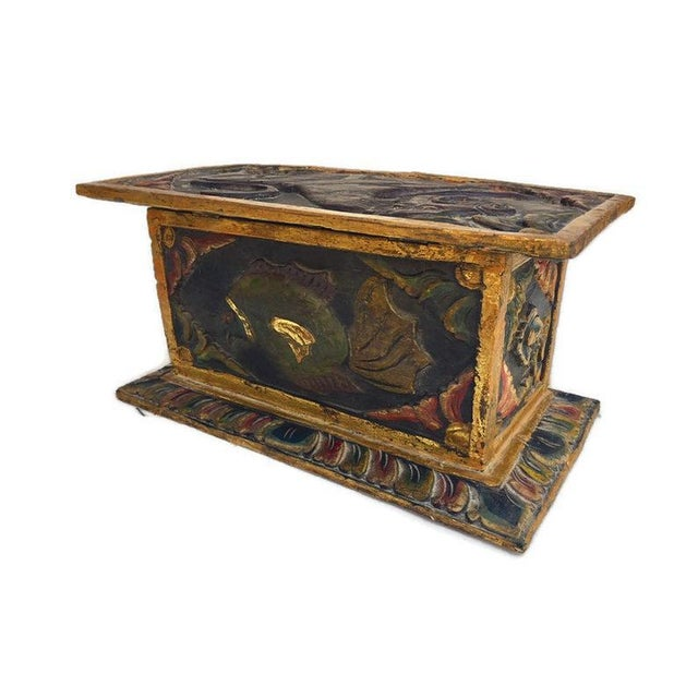 Vintage Balinese Alter Wood Carved Offering Box For Sale - Image 9 of 13