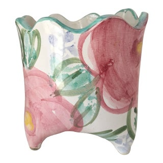Pink and Green Ceramic Planter For Sale