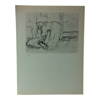 """Circa 1980 """"Woman at the Washbasin 1896"""" Print of a Toulouse-Lautrec Drawing For Sale"""