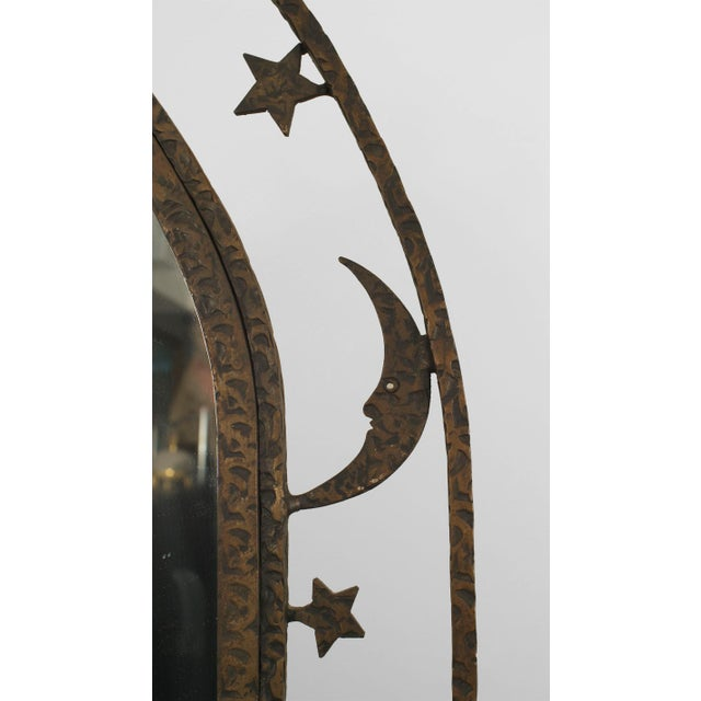French Art Deco Wrought Iron Cheval Mirror For Sale - Image 4 of 6