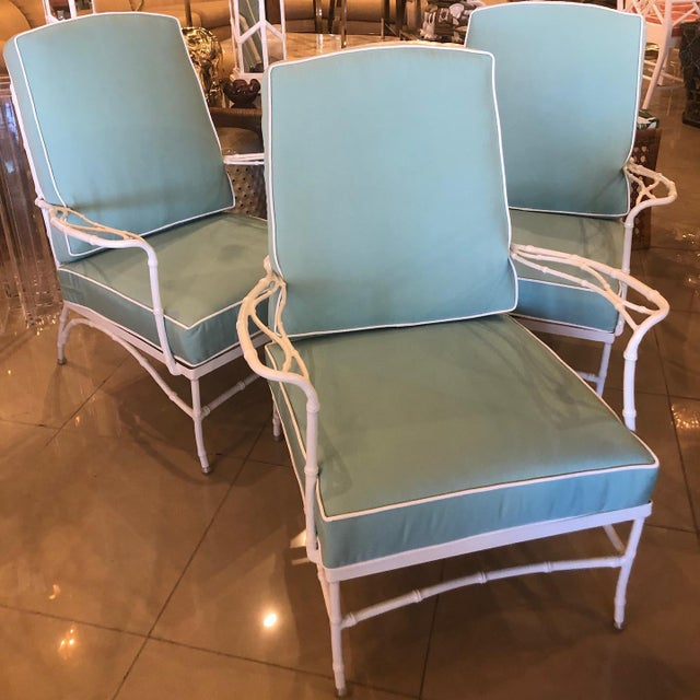 Metal Vintage Sunbrella Faux Bamboo Powder-Coated Metal Lounge Patio Chairs - Set of 3 For Sale - Image 7 of 13