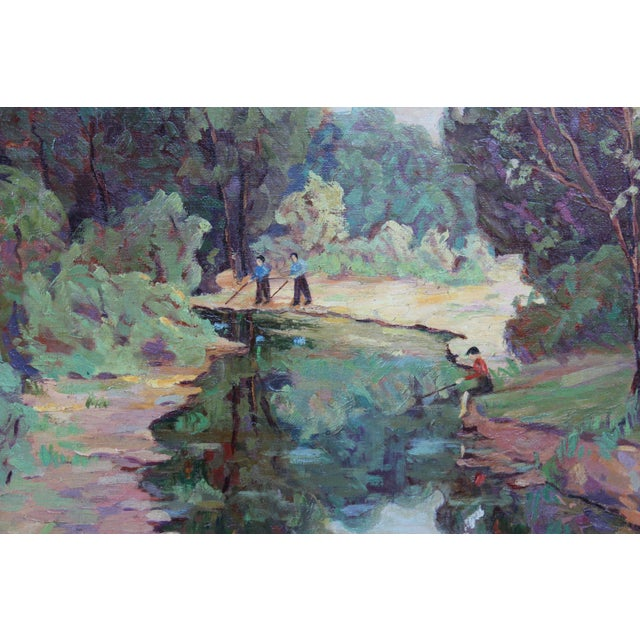 """""""Fishing on the River"""" Painting by Jessamine Johnson For Sale - Image 4 of 6"""