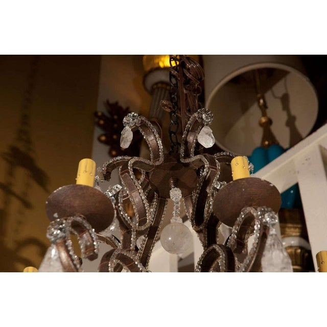 Metal 1980s Six-Light Iron and Rock Crystal Chandelier For Sale - Image 7 of 8