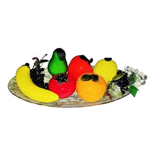 1960s Murano Glass Fruit Platter - 9 Piece Set For Sale