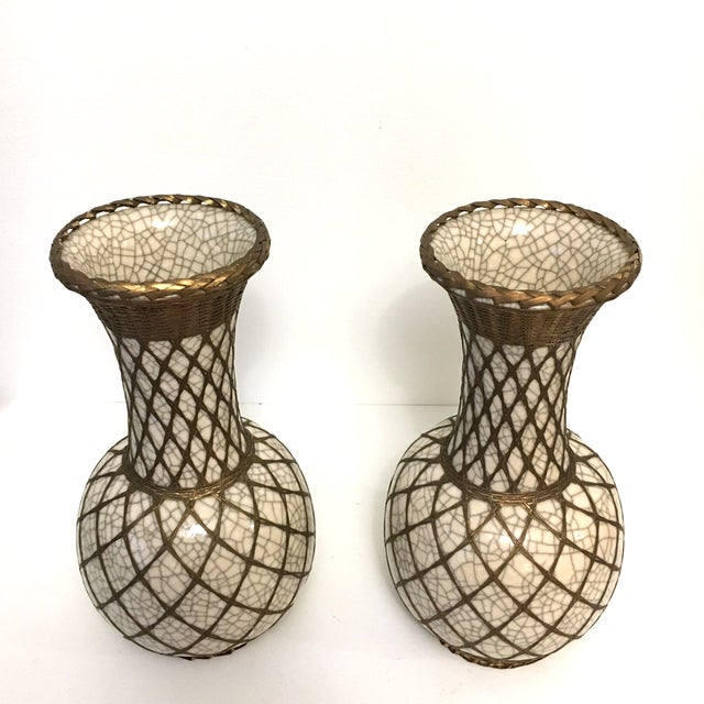 Japanese Pottery Vases With Brass Details - A Pair - Image 2 of 9