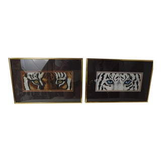 Hand Embroidered Bengal Tiger Eyes in Frames - a Pair For Sale
