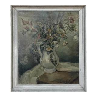 Antique Framed Still Life Oil Painting on Canvas For Sale