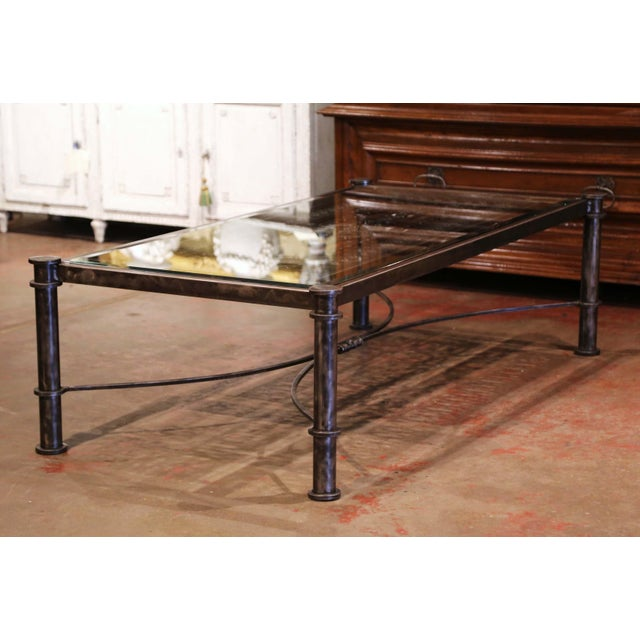 Iron Coffee Table Made With 19th Century French Gate Balcony With Glass Top For Sale - Image 11 of 13