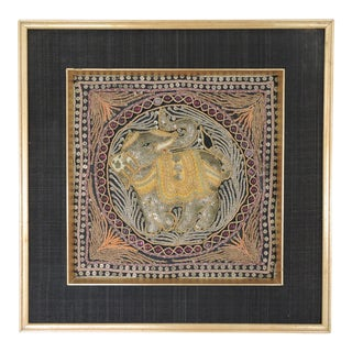Antique Double Burmese Framed Beaded Wall Tapestry of an Elephant For Sale
