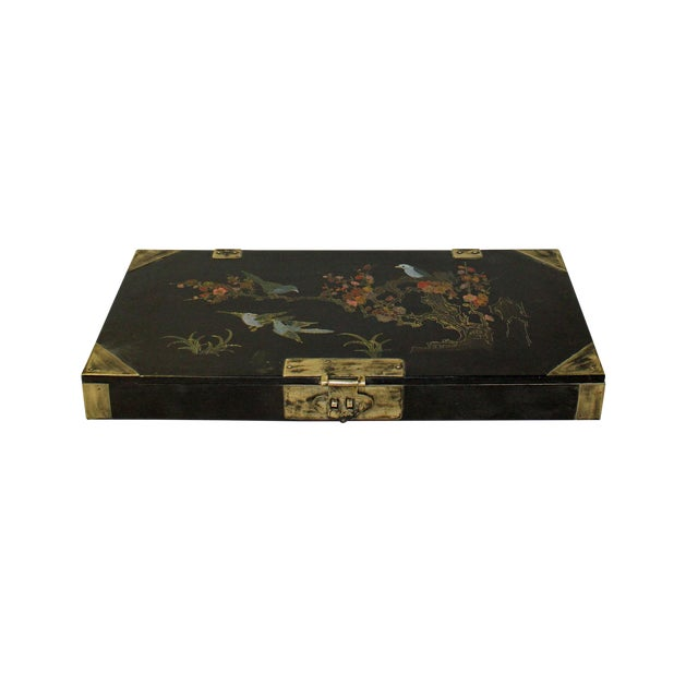 Chinese Black Lacquer Flower Bird Graphic Rectangular Display Box For Sale