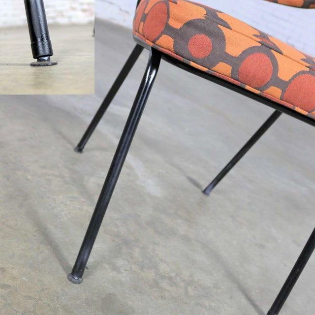Metal Mid Century Modern Black Bent Steel Tube Armchair With New Orange Upholstery For Sale - Image 7 of 13