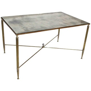 1950sFrench Brass X Base Antiqued Mirror Top Cocktail Table For Sale
