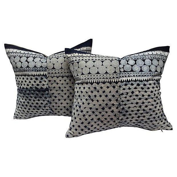 Tribal Indigo Batik Pillows - Pair - Image 1 of 6