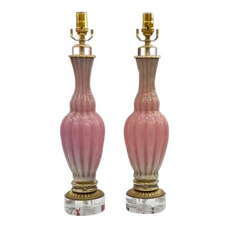 Pink Barbini Murano Lamps - a Pair For Sale