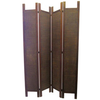 Four-Panel Woven Rattan Screen / Divider