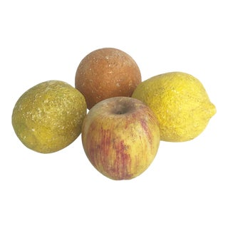 Mid 20th Century Vintage Italian Stone Fruit Apple Lemon Orange - Set of 4 For Sale