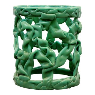 1960s Mint Green Pulled Taffy Side Table, Style of Tony Duquette For Sale