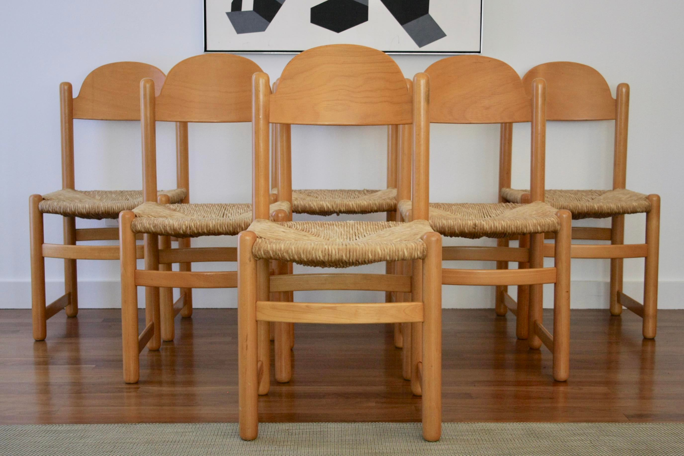 Charlotte Perriand Influenced Rush Chairs, Set Of 6 For Sale   Image 13 Of