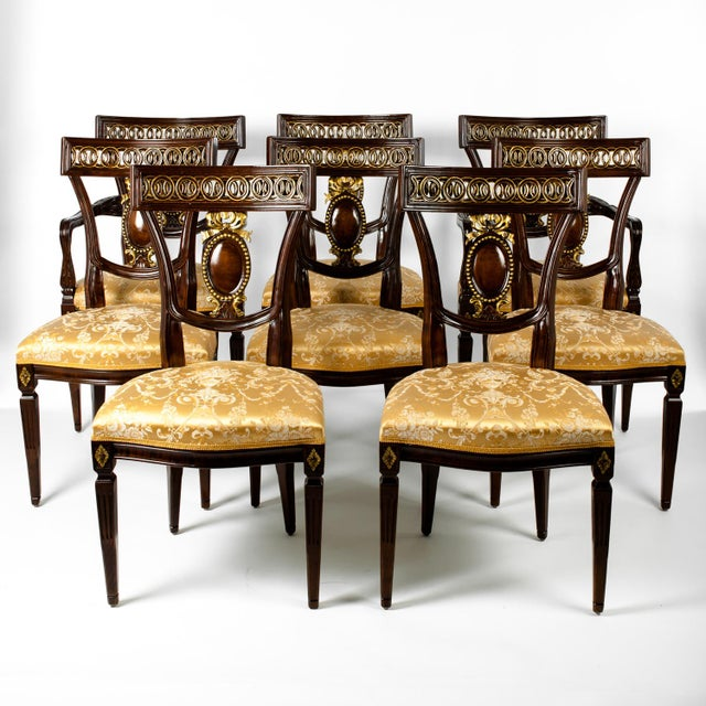 Mid 20th Century Mid Century European Mahogany Wood Dining Chairs - Set of 8 For Sale - Image 5 of 5