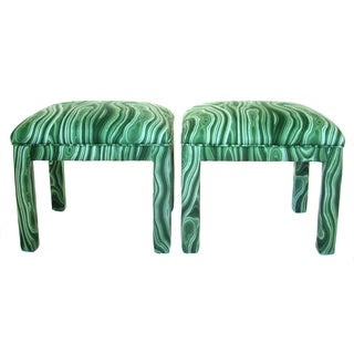 Malachite Parsons Benches - A Pair For Sale