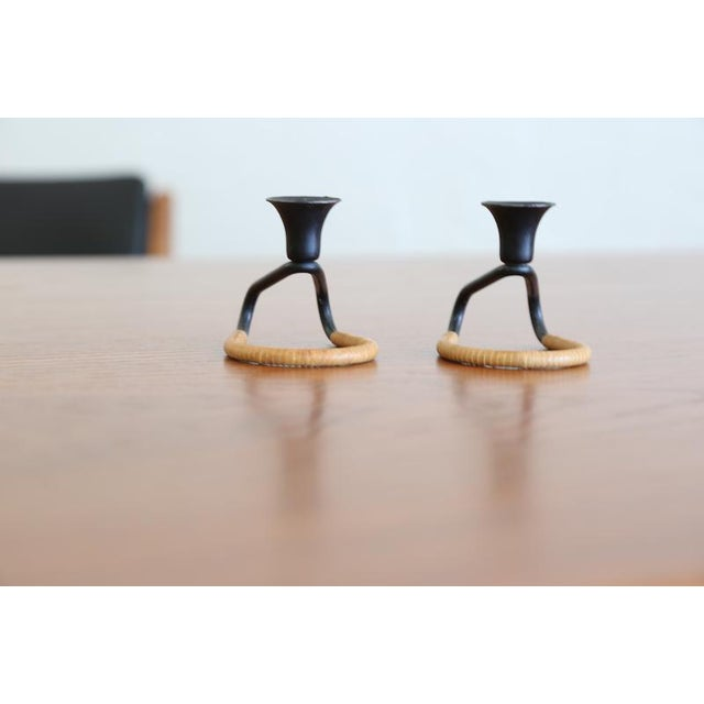 Mid-Century Modern Cane Wrapped Round Candle Holders - A Pair For Sale - Image 3 of 5