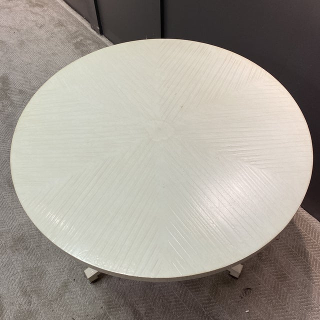 White Circular Top Side Table For Sale - Image 4 of 10