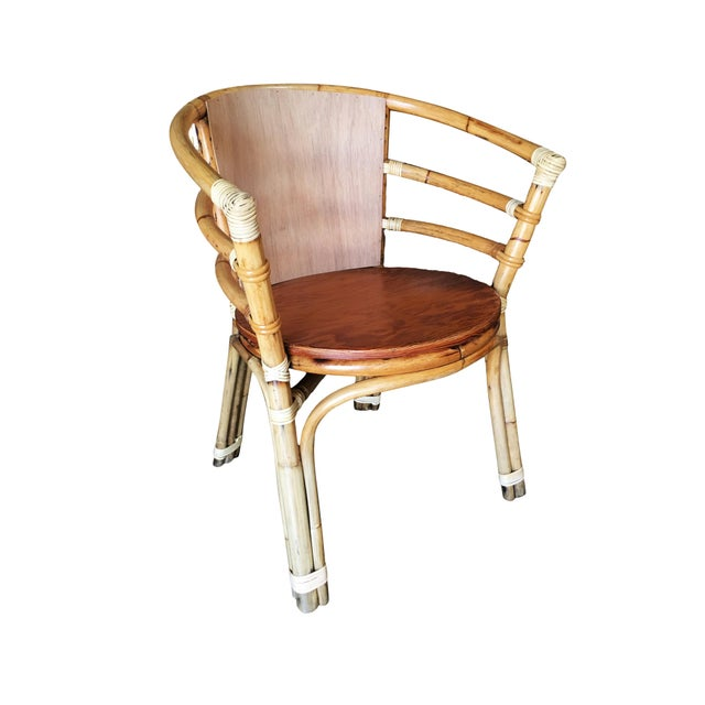 Single strand rattan barrel back armchair with skeleton arms. Restored to new for you. All rattan, bamboo and wicker...
