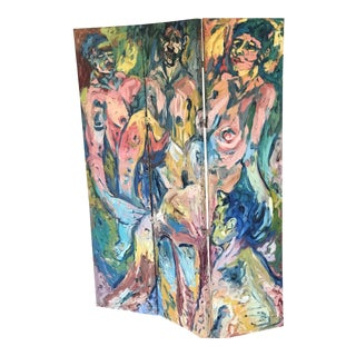 1980 Richard Beard Original Oil Painting Double Sided Room Divider Folding Screen For Sale