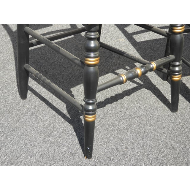 Vintage Pair of L. Hitchcock Federal Black Eagle Chairs With Rye Seats For Sale - Image 10 of 11