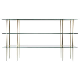 Italian Glass and Brass Console Table, 1950
