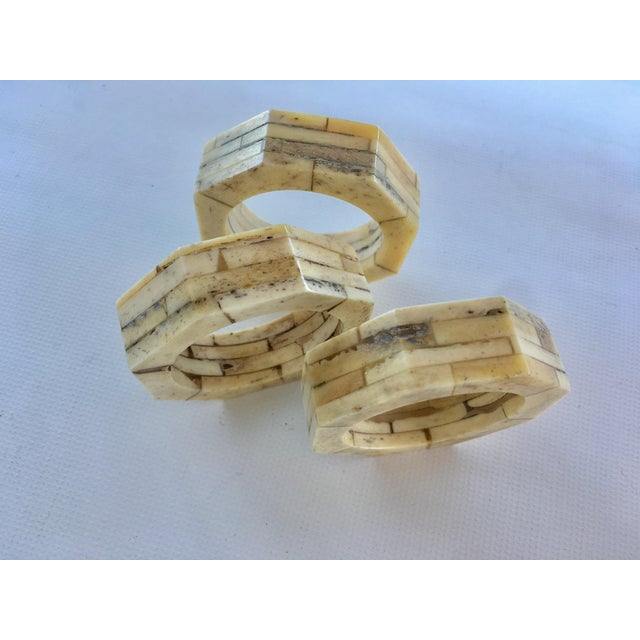 Modern Bone Inlaid Napkin Rings - Set of 8 For Sale - Image 3 of 5