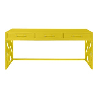 Casa Cosima CeCe Desk with Wood Fretwork Base, Citrus Burst For Sale