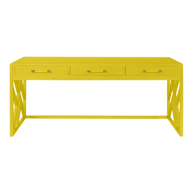 Casa Cosima CeCe Desk with Wood Fretwork Base, Citrus Burst For Sale