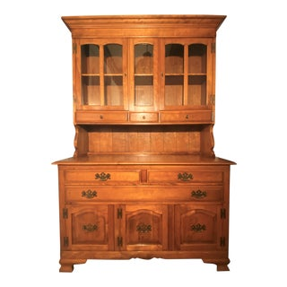 """Cushman Furniture Colonial Style """"Fairfield"""" Maple Buffet & China Cabinet For Sale"""