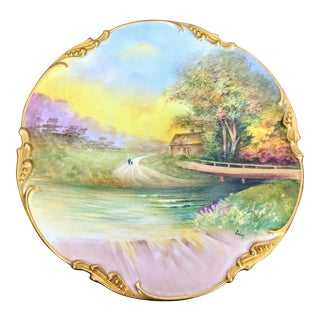 Antique Jean Pouyat Limoges Hand Painted Plate Signed Emile 1908 For Sale