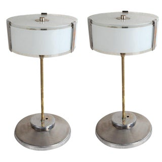 Mid-Century Modern Chrome and Frosted Glass Table Lamps - a Pair For Sale
