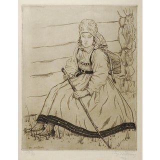 Norwegian Girl Etching by Olof Abrahamsen Willums For Sale