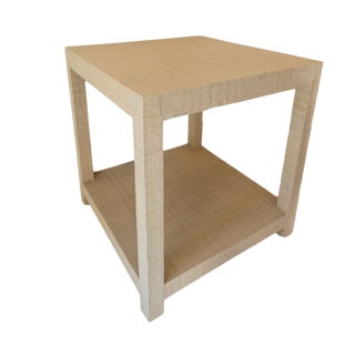 Contemporary Style Grasscloth End Table For Sale