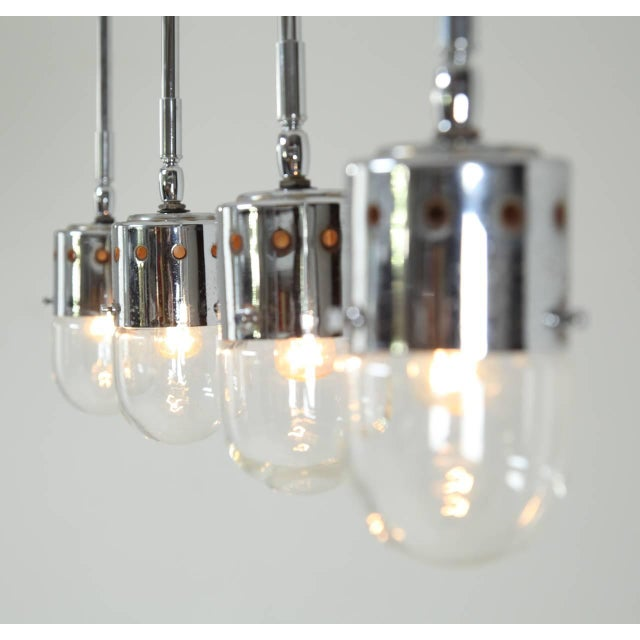 Mid-Century Modern Set of four chrome minimalist Italian ceiling lights, 1950s For Sale - Image 3 of 4
