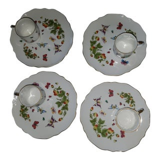 1980s Shabby Chic Porcelain Snack Plates - Set of 4