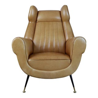 Rare Italian Ocher Leather Wingback Chairs with Brass Feet, Pair, circa 1960 Preview