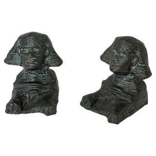 1920s Egyptian Sphinx Metal Bookends
