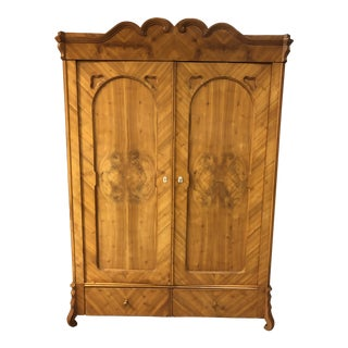 Vintage Wood Two Door Storage Armoire For Sale