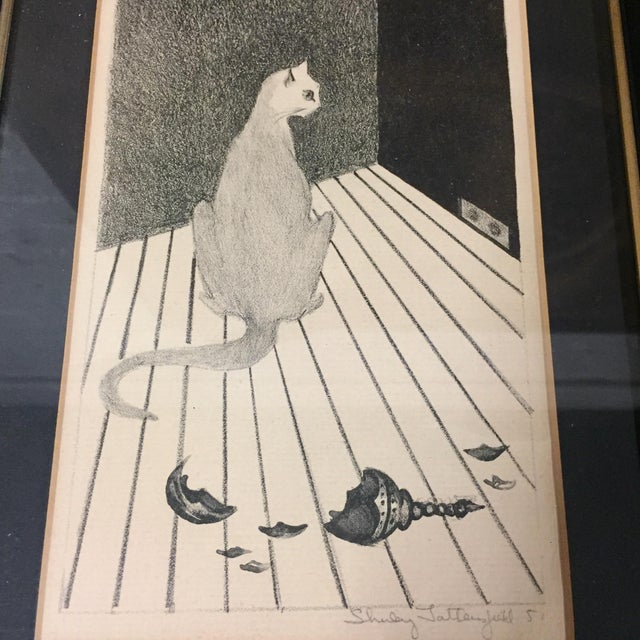 Mid-century style cat pencil drawing signed Shirley Satterfield '51 and framed behind glass. If you've ever had cats, this...