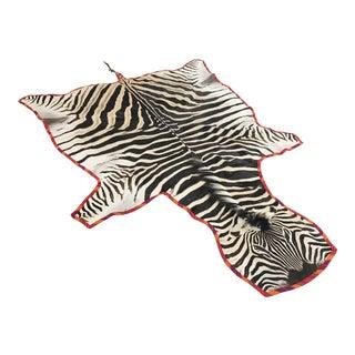 Forsyth Zebra Hide Rug Trimmed in Maasai Warrior Blanket For Sale