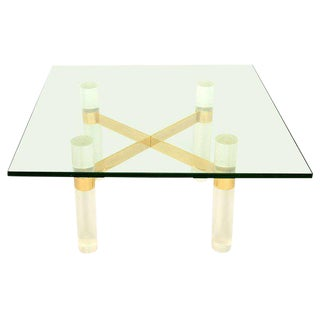 1970s Mid-Century Modern Karl Springer Lucite Coffee Table Base For Sale