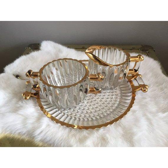 Hollywood Regency Vintage Hollywood Regency Glass Cream + Sugar Set W/ Gold Leaf Detailing - 3 Pc. Set For Sale - Image 3 of 6
