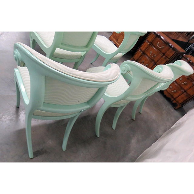 Art Deco Art Deco Teal Lacquered Side Chairs - Set of 6 For Sale - Image 3 of 8